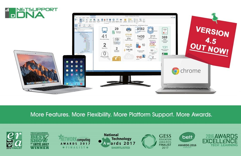 New platform support, features and awards – NetSupport DNA version 4.5 out now!