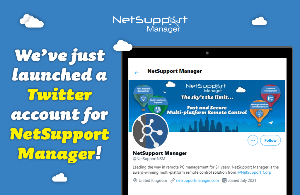 Follow NetSupport Manager on Twitter now!